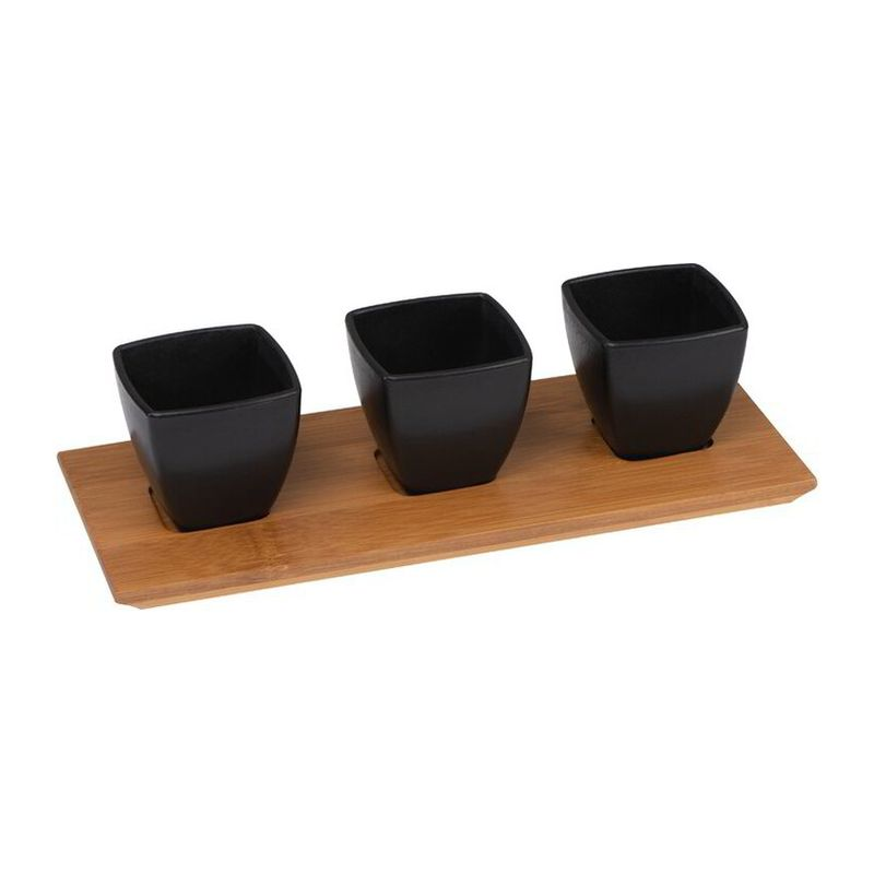 Small bowls set with bamboo board