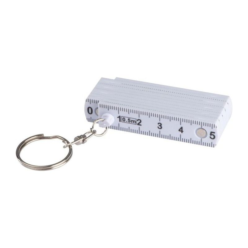 Keyring with folding ruler